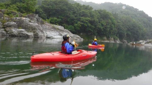 長瀞のカヤック体験/静かな岩畳