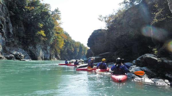 長瀞のカヤック体験/水の色が素晴らしいです